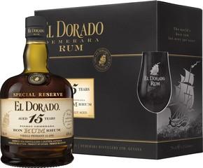El Dorado Rum 15 YO 70cl, 43%, dárkové balení se skleničkami