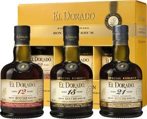 El Dorado Rum 3x 35 cl 12YO,15YO,21YO,dárková sada